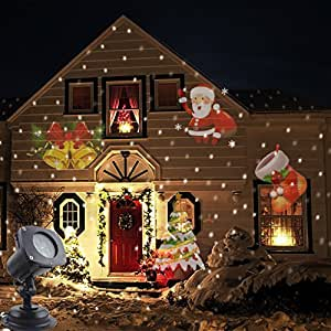 Syhonic LED Landscape Projector Light Waterproof Moving Projector Lamp Festive Lights Spotlights Halloween Christmas Decoration Wall Decrative Lighting with 12 Switchable Pattern Lens for Garden Yard Lawn Pond Indoor Home Light Show