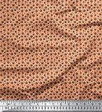 Soimoi Orange SAMT Stoff Hunde & Pfote Hund Stoff Drucke