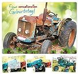 Geburtstagskarte mit dem Wow Effekt Retro Traktor Bulldog Trecker besondere Glückwunschkarte zum Geburtstag Grußkarte schöne lustige edle Karte