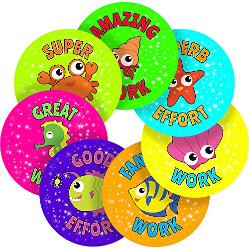 Graphic Flavour Nursery Classroom Teachers Cute Sea Animals Praise Reward Sticker Labels (70 Stickers @ 2.5cm) Children, Parents, Teachers