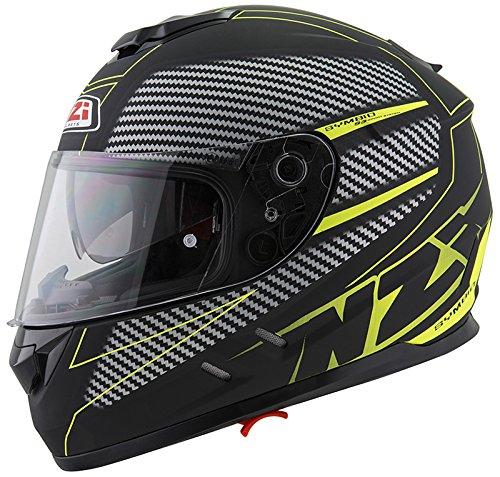 nzi - casco integral symbio 2 duo graphics fiber volt negro-amarillo mate talla s 55-56cms