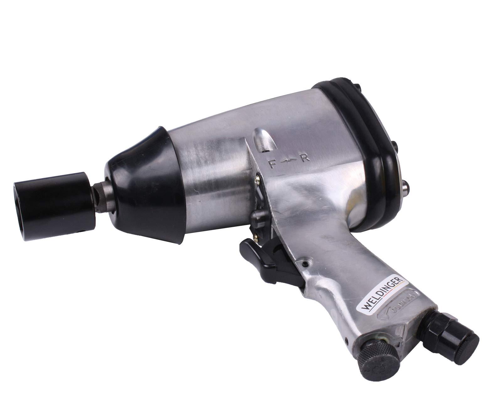 WELDINGER Druckluft-Schlagschrauber 16-teiliges Set (Schlagkraft 312 Nm Luftverbrauch 115 l/min an 6 bar)