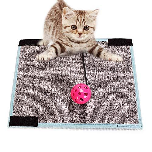MQUPIN, Tappetino AntiGraffio per Gatti in sisal, Antiscivolo, per Proteggere Il Pavimento e i mobili, con Un Giocattolo Rotondo per Gatti