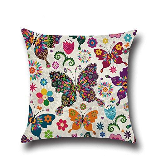 Joybuy Jardin Papillons Imprimé en Coton et Lin Taie d'oreiller 45,7 x 45,7 cm, Lin, 02, 18\