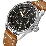 Herren Analog Quarz Handgelenk Uhren braun mit Lederband Auto Datum Luminous hands- 30m Wasserdicht