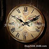 VariousWallClock Wall Clocks Wanduhr Uhren Wecker Uhr Haushalt Pendeluhr Europäischer Stil europäischer Stil Antik High Density Board Blau