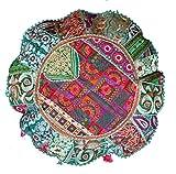 RASTOGI Kunsthandwerk Meditation Kissen–Indian Pouf Bio Baumwolle–Old Sari Patch Work Ombre Yoga Decor Kissen für rund Kreis dunkelgrün