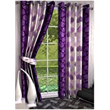 Super India Floral 2 Piece Eyelet Polyester Long Door Curtain Set - 9ft, Purple