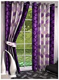 Super India Floral 2 Piece Eyelet Polyester Window Curtain Set - 5ft, Purple