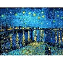 Póster 40 x 30 cm: Starry Night Over the Rhone de Vincent van Gogh - impresión artística de alta calidad, nuevo póster artístico