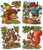 Unbekannt 4 Stück: XL Fensterbilder Herbst - Eichhörnchen / Eule / Igel / Vogelscheuche - Sticker Fenstersticker / Aufkleber selbstklebend & statisch haftend - Fensterbilder