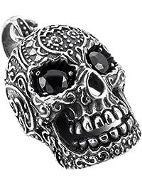 MunkiMix Acero Inoxidable Colgante Collar Cz Cubic Zirconia Circonita El Tono De Plata Negro Cráneo Calavera Relieve Hombre,Cadena 58cm