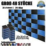Super Dash (48 Stück) von 25 X 25 X 5 cm Schwarz & Blau Keil Akustikschaumstoff Noppenschaumstoff Akustik Dämmmatte Schallisolierung Schaumstoff Polster Fliesen SD1134 (SCHWARZ & BLAU)