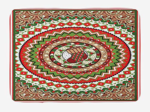 CHKWYN Black and White Bath Mat, Red Umbrella on a Dark Narrow Street in Tuscany Italy Rainy Winter, Plush Bathroom Decor Mat with Non Slip Backing, Grey Vermilion,20X31 inch