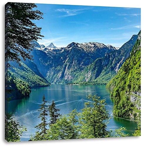 Blick auf den Königssee, Format: 70x70 auf Leinwand, XXL riesige Bilder fertig gerahmt mit...