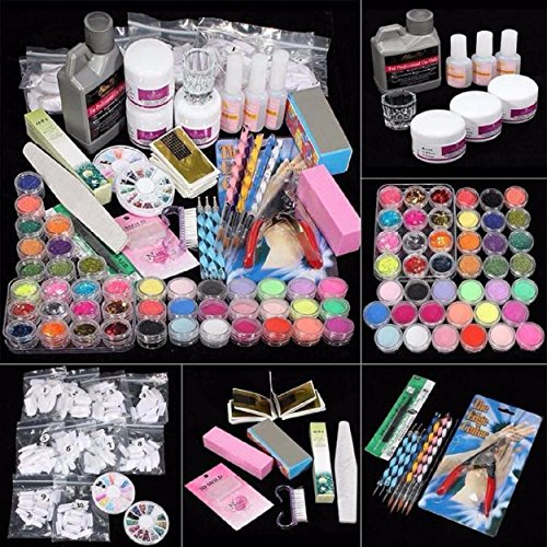 Yogogo 42 Acrylnagel Kunst Spitzen Powder Liquid Pinsel Glitter Clipper Primer Datei Set Kit