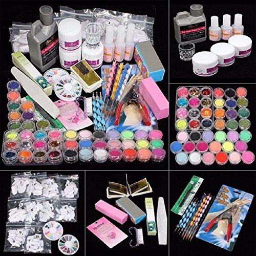 Yogogo 42 Acrylnagel Kunst Spitzen Powder Liquid Pinsel Glitter Clipper Primer Datei Set Kit