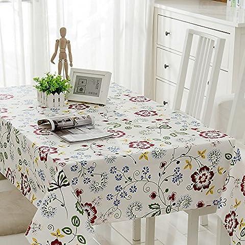 DSAAA Einfachheit moderne Tischdecke dicken Leinen Tischdecke Tuch weiße Blume 80 * 140cm