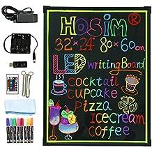 """Tablero de mensaje de escritura del LED, 32 """"x 24"""" iluminado Muestra de menú del menú del efecto de neón borrador con 8 colores Marcadores, 7 colores y modo que destella Pizarra de DIY para las promociones de la boda de la cocina por Hosim"""
