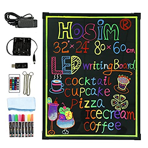"LED Writing Message Board, 32""x 24""lluminated Erasable Neon Effect Restaurant Menu Sign with 8 colors Markers, 7 Colors and Flashing Mode DIY Chalkboard for Kitchen Wedding Promotions by"
