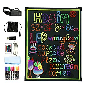 led schreibtafel 80cm x 60cm beleuchtet erasable neon effekt restaurant men schild mit 8. Black Bedroom Furniture Sets. Home Design Ideas