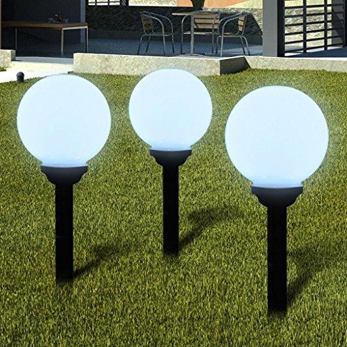 Anself Lámpara Solar de Jardín en Forma de Bola con LED, 20 cm, 3 unidades