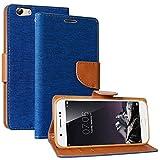 DMG Vivo Y69 Flip Cover, Canvas Diary Stand Wallet Leathr Flip Cover for Vivo Y69 (Blue)