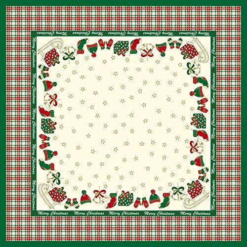 (Sovie HOME Tischdecke Amy in Grün-Champagner| Linclass® Airlaid | 80x80 cm, stoffähnlich | Tischtuch Weihnachten)