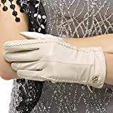 Nappaglo Damen klassische Handschuhe aus echtem Nappaleder Reines Kaschmir-Futter Winter Warm Handschuhe (L (Umfang der Handfläche:19.2cm), Cremig weiß(Non-Touchscreen))