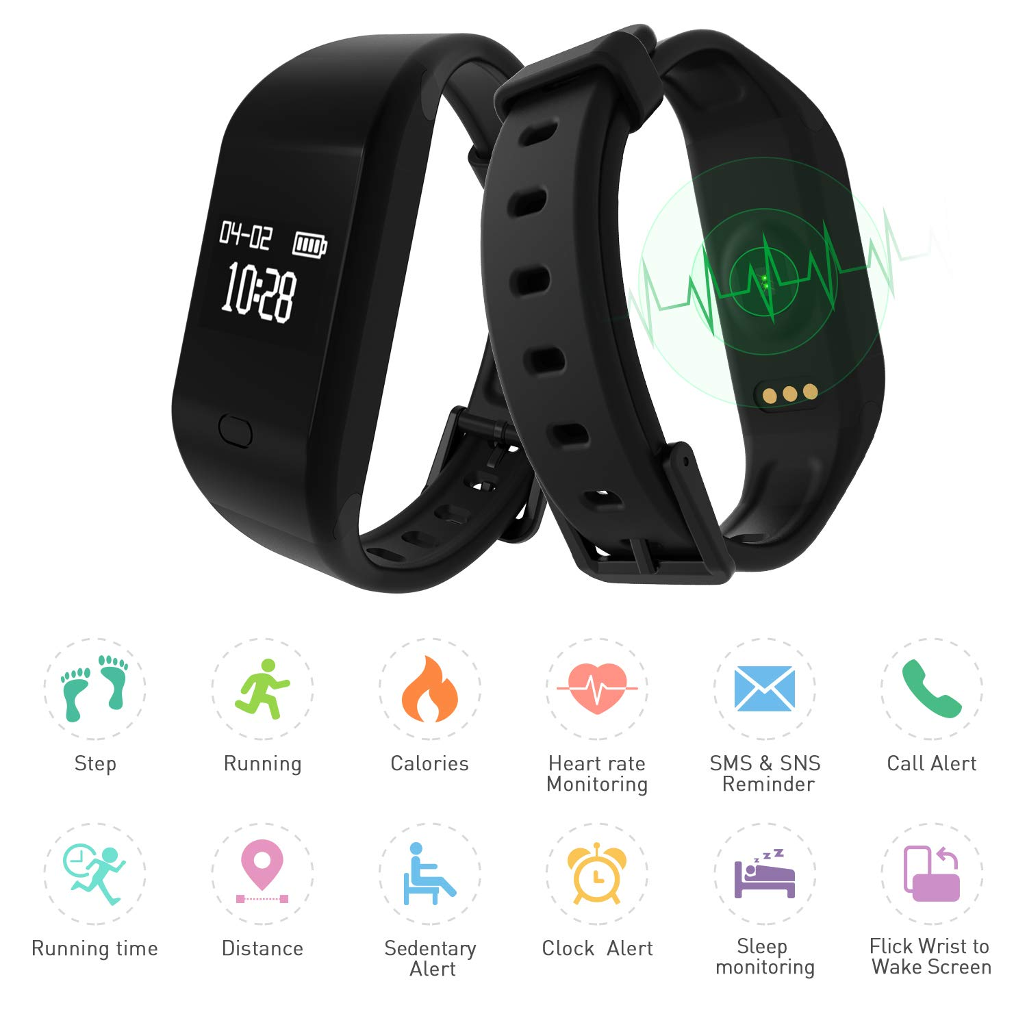 Fitpolo Fitness Tracker HRActivity Fit Tracker With Heart RateSleep MonitorPedometer StepCalorie CounterIP67 Waterproof Smart Watch Wristband For Kidsmenwomen For Iphone Android