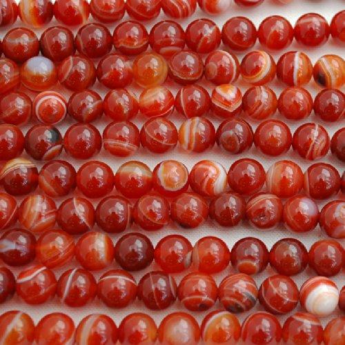 40,6cm haute qualité Grade A Naturel Pierre précieuse de pierres semi-précieuses Agate Rouge/Cornaline rayé semi-précieuses Pierre précieuse Perles rondes–40,6cm Strand, Red, 10mm (39-42 beads)