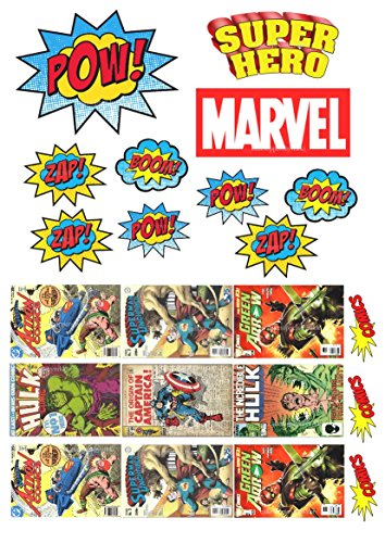 essbar Superheld Comic Book Covers plus 10 Wörtern ungeschliffen Zuckerguss Kuchen Topper -