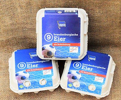 Frische Eier 'Hertha 9er', 3 Packungen a 9 Stück