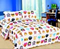 "Rayyan Linen's Emoji Emotion ""pizza & Faces"" Size Double Duvet Quilt Duvet Cover Bedding Bed Set With Pair Pillowcases 