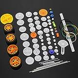 MZMing [78 Pack] Juego de Engranajes de Plástico de Bricolaje Engranaje de Reducción Simple Doble Engranaje de Corona Cinturó