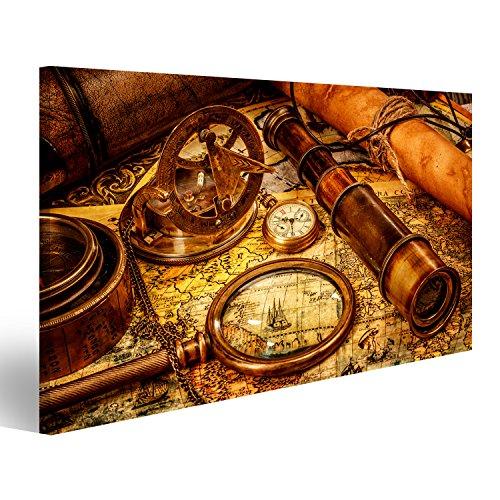 islandburner Bild Bilder auf Leinwand Vintage Lupe, Kompass, Teleskop und eine Taschenuhr auf Einer Alten Karte liegen. Wandbild, Poster, Leinwandbild EGY