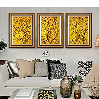 ABM Home -Birds & Trees (66cm x 51cm/each Frame/3pcs set) Wall Art, Large Wall Picture Frame, Vintage Style,Framed Canvas, Large Poster (Gold)