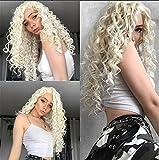 Blue Bird Perruque de cheveux synthétiques frisés crépus longs Dentelle frontale Utilisation quotidienne Blond platine Pour femme