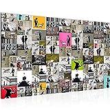 Bild Collage Banksy Street Art Wandbild Vlies - Leinwand Bilder XXL Format Wandbilder Wohnzimmer Wohnung Deko Kunstdrucke Bunt 1 Teilig - Made IN Germany - Fertig zum Aufhängen 302714a