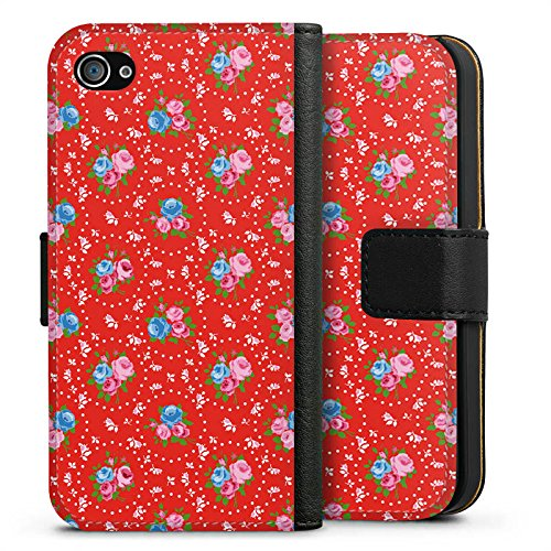 Apple iPhone X Silikon Hülle Case Schutzhülle Blumen Oldschool Muster Sideflip Tasche schwarz