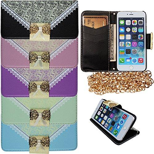 """xhorizon TM Luxe Noël Pu Cuir contraste de couleur flip ID Carte Portefeuille Wallet Case Cover ZY stand Etui Coque Housse sac à main Prochette pour 5.5 """" iPhone 6 Plus Vert"""