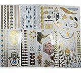 8 pcs de 14.8 x 21 cm de Tatouages éphémères métalliques brillants/Tatouages temporaires métalliques Glitter Tattoo Designs Tatouages à bijoux pour femmes Ados filles,Color Flash Waterproof Tattoo Stickers, motifs variés