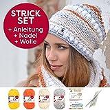 Trendiges Myboshi Strickset / Strickmütze Irvine: Strickanleitung + 4 x Strickgarn Myboshi No.1 + Selfmade Label – Farben: (silber, löwenzahn, elfenbein, orange, mit Stricknadel)