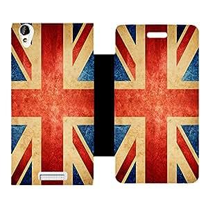 Skintice Designer Flip Cover with Vinyl wrap-around for Lava Iris X1 Atom, Design - vintage england flag