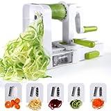 Sedhoom Taglia Verdure/Affetta Verdure a Spirale con 5 Lame, spiralizzatore/Affettatrice Verdure da Cucina.Tagliare…