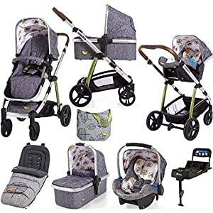 Cosatto wow Travel system with Port Isofix base Bag and footmuff in Dawn Chorus   7