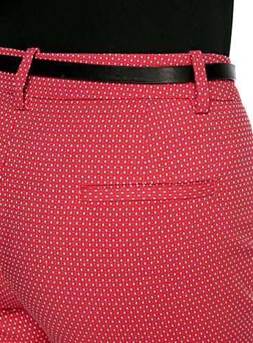oodji Collection Damen Jacquard-Hose mit Gürtel Rot (4533D)