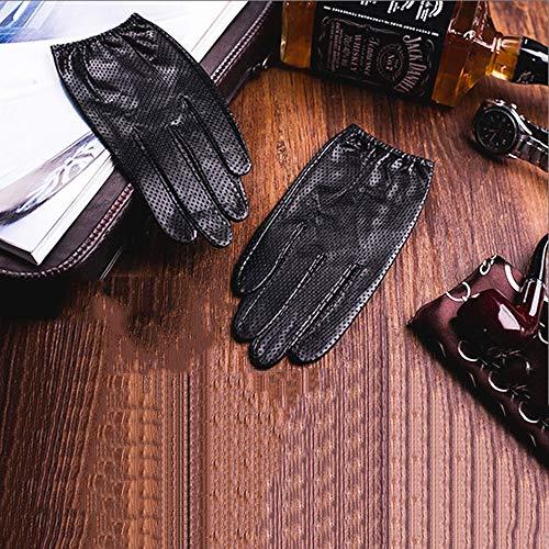 Agelec Lederhandschuhe Herren Dünnschliff Fahren Atmungsaktiv Auto Fahren Handschuhe Lokomotive Einzelne Schaffell Motorrad Handschuh (Color : Black Non-Touch Screen, Größe : S)