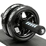 Picutre of H&S® Ab Abdominal Exercise Roller With Extra Thick Knee Pad Mat - Body Fitness Strength Training Machine AB Wheel Gym Tool
