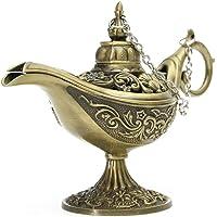 HEALLILY Porta Incenso Metallo Aladdin Che Desidera Lampada Bruciatore di Incenso Ornamento da Tavolo Aroma Diffusore…